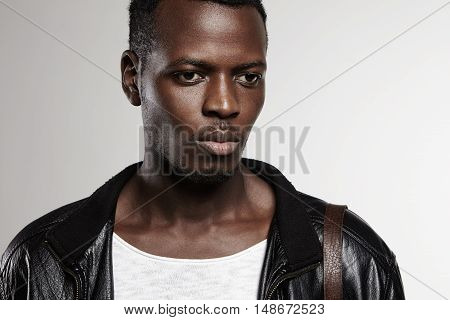 Human Face Expressions, Emotions And Feelings. Young Handsome Fashionable African Man Dressed In T-s