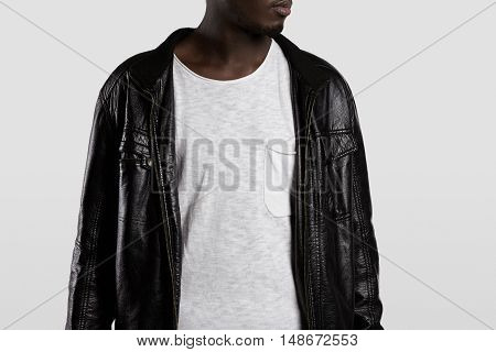 Clothing And Advertising Concept. Young Fashionable Athletic African Male Model Wearing Stylish Clot