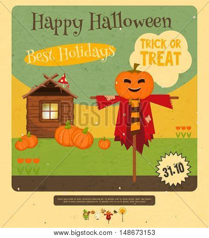 Halloween Card - Scarecrow Hut and Pumpkin. Retro style. Vector illustration.