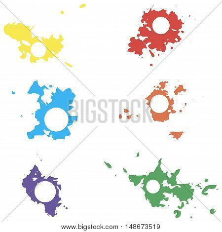 Colored Vector Blots With Space For Inscriptions. Seth Blots On A White Background. Design Element