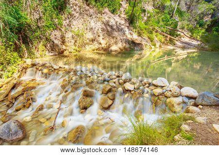 Scenic View Of Rio Chillar River Near Nerja, Malaga Region, Spain. Landscape, Long Exposure. Nobody