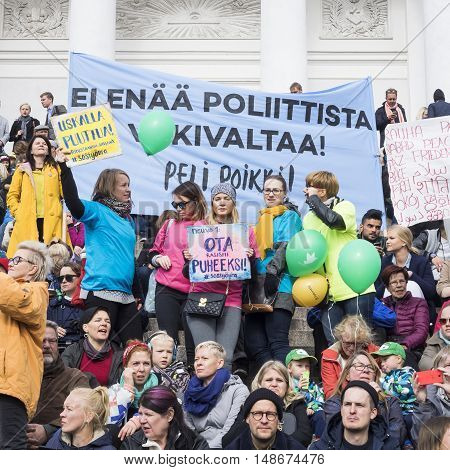 HELSINKI, FINLAND - SEPTEMBER 24: People with their banners in the demonstration against racism in Helsinki at 24 September, 2016
