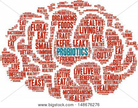 Probiotics word cloud on a white background. poster