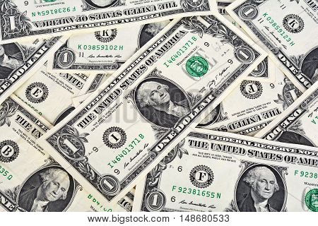 One dollar banknotes. Business background. Lot of money