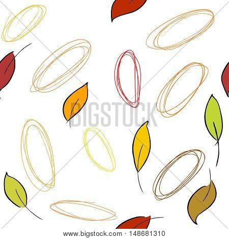 Seamless vector pattern with fall leaves and drawn circles