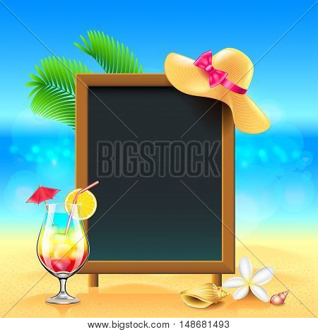Summer vacation background with cocktail and menu board vector