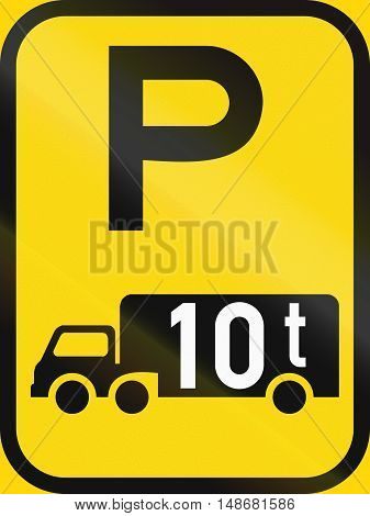 Temporary Road Sign Used In The African Country Of Botswana - Parking For Goods Vehicles Exceeding 1