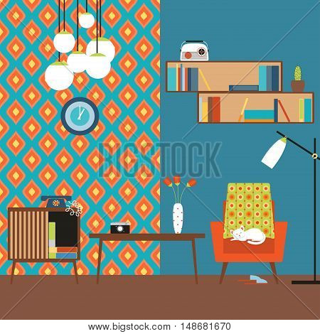 lustration of a flat design. Room in the style of 70s. Picture a living room with table bedside table chair floor lamp shelves in the style of the 70s.