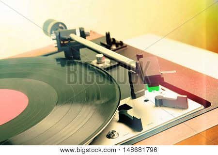 Vintage Music Player Turntable With Lp