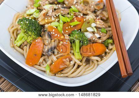 Stirfried pork with veggies and Ramen noodles