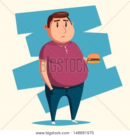 Fat man with burger. Cartoon vector illustration. Obese character. Fatboy. Sad man