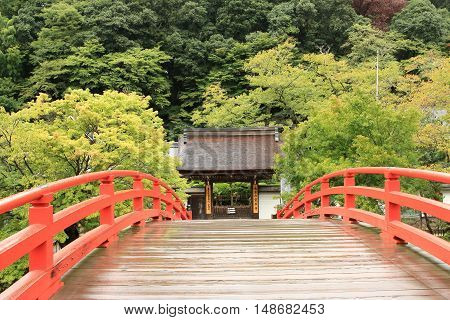 Nara , Japan September 18, 2016:It is Murō-ji and the arched bridge in Nara Prefecture. Murō-ji had been allowed to visit the shrine of women Unlike Koyasan from a long time ago.