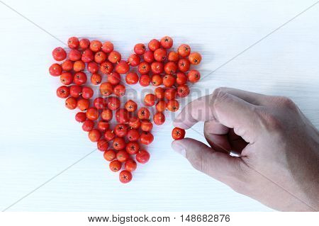 Hand lays out the heart from berries on a light wooden surface / last missing piece