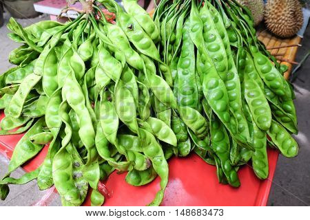 Parkia speciosa or Sato local vegetables in southern Thailand.