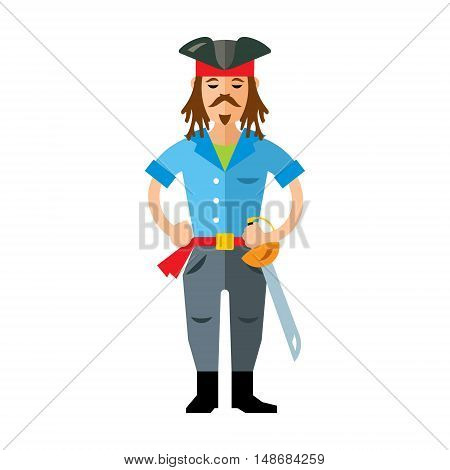 Robber in a three-cornered hat and machete. Isolated on a white background