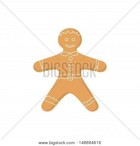 Christmas Gingerbread Man Decorated White Icing and Cream, Cookie Gingerbread Man Isolated on White Background, Happy New Year, Festive Biscuit Man ,Christmas Decoration, Vector Illustration