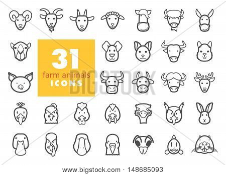 Set of farm animals outline icons. Vector head illustration. eps 10