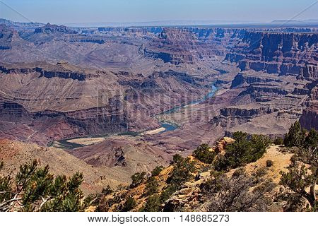 vista of Grand Canyon with Colorado River, buttes and greenery