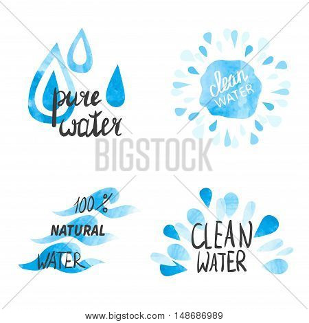 Set of hand drawn watercolor symbols and signs of pure water. Vector collection of aqua labels.