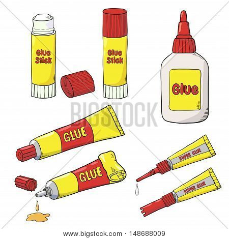 Vector collection of glue tubes, bottle and stick isolated on white. Cartoon Glue set.