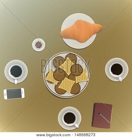 Coffee Time Friends Socialize Enjoyment Concept. vector