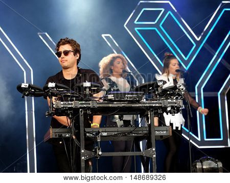 Emre Turkmen keyboard  player performing with Years & Years at Bestival Festival, September 9th 2016, Newport,  Isle of Wight, UK