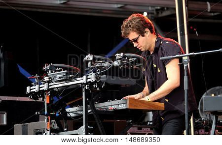 Emre Turkmen performing with Years & Years at Bestival Festival, September 9th 2016, Newport,  Isle of Wight, UK