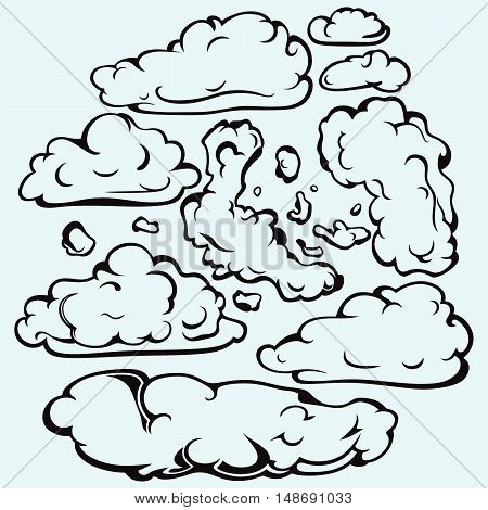Sky with cloud closeup. Isolated on blue background. Vector silhouettes