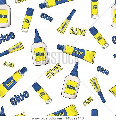 Cartoon glue seamless pattern. Vector background with glue tubes, bottles and sticks isolated on white.
