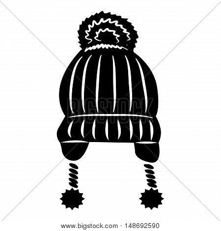 Hat with pompom icon in simple style on a white background vector illustration