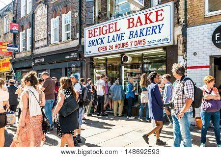 London United Kingdom - September 11 2016: Brick Lane street Sunday market. Famous Beigel Bake Brick Lane Bakery Beigel Shop