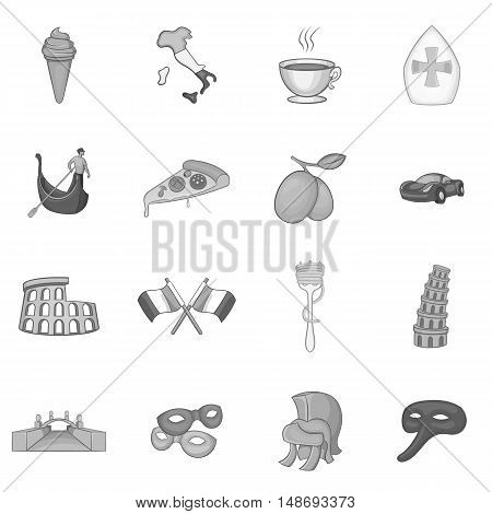 Italy icons set in black monochrome style. Italy culture elements set collection vector illustration