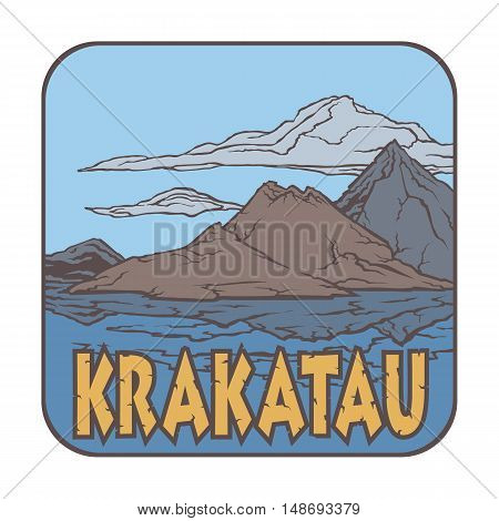 Vector image of a volcano Krakatau on the background of nature and sky.square color thumbnail icon