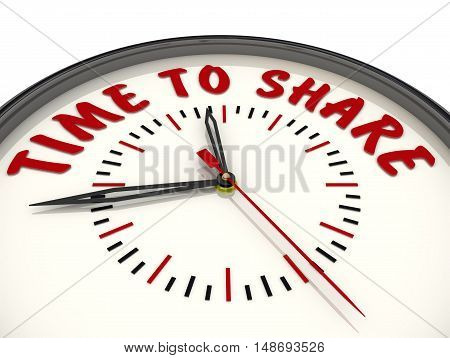 Time to share. Watches with an inscription. Analog Clock with the words