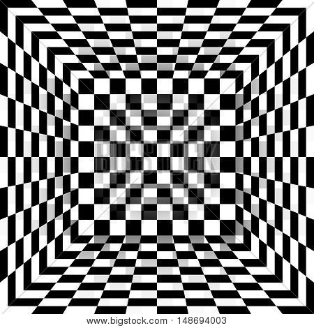 Black and white chessboard pattern box. Abstract background. Vector illustration