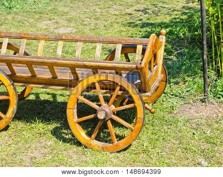 Traditional ukrainian cart with the wooden wheels