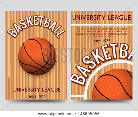 Univercity basketball brochure flyer template with basketball ball and place for text. Vector illustration