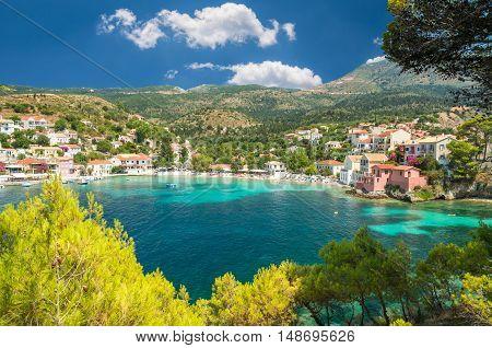Assos on the Island of Kefalonia in Greece. View of beautiful bay of Assos village, Kefalonia island, Greece