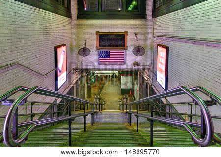 Boston, Massachusetts - September 5, 2016: Park Street Station on the MBTA subway system located at the intersection of Park Street and Tremont Street under Boston Common in downtown Boston. One of the two oldest stations on the