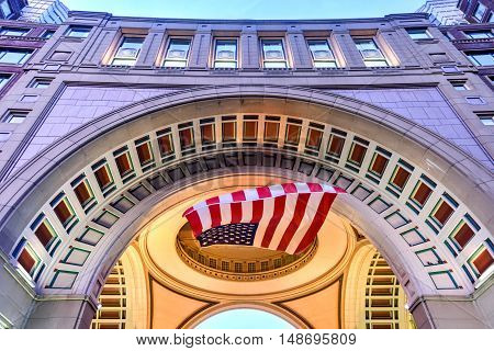Boston, Massachusetts - September 5, 2016: The arch at Rowes Wharf in Boston Massachusetts.