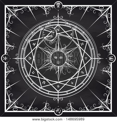 White occult hermetic circle vector illustration. Alchemy magic circle on chalkboard background