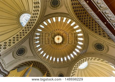 Boston Massachusetts - Sept 4 2016: Interior of the First Church of Christ Scientist the mother church of Christian Science in the Back Bay of Boston Massachusetts USA.