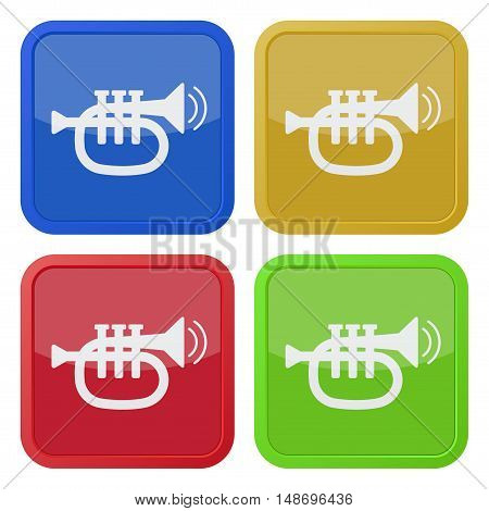 set of four colored square icons - trumpet sound with two vibration waves