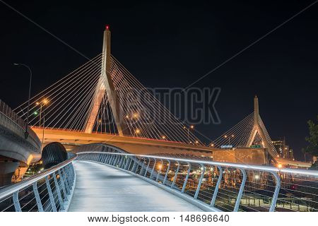 Boston, Massachusetts - September 5, 2016: Boston Leonard P. Zakim Bunker Hill Memorial Bridge at night in Bunker Hill Massachusetts USA.