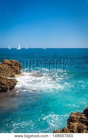 Beach from the rocks near Antibes France