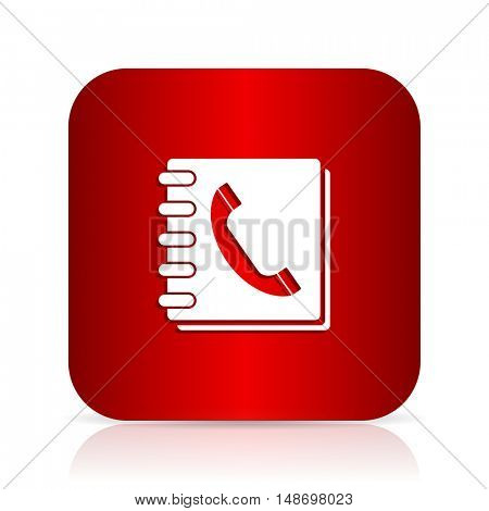 phonebook red square modern design icon