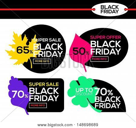 Variegated black friday sale. Black Friday banner with autumn leaf. Super offer. Vector illustration