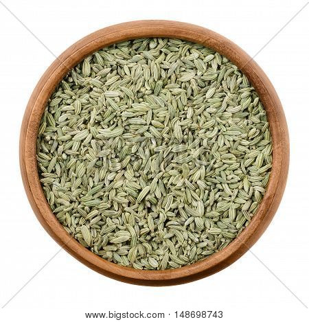 Fennel seeds in a wooden bowl on white background. Dried fruits of Foeniculum vulgare, an aromatic and flavorful herb with culinary and medicinal uses. Isolated macro photo close up from above.