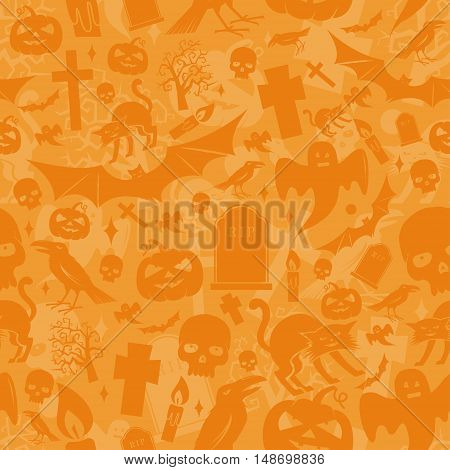 Halloween orange seamless pattern. Vector illustration. Halloween pattern include cat, pumpkin, bat, crow, skull, tree, candle, ghost and grave.