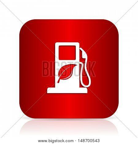 biofuel red square modern design icon